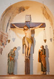 Verona - Crucifixion from 18. cent. in church San Fermo Maggiore. Royalty Free Stock Photo