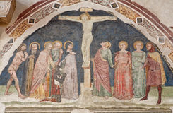 Verona - Crucifixion fresco by school Royalty Free Stock Photos
