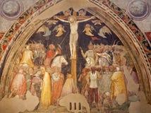Verona - de fresko van de Kruisiging in kerk San Fermo Maggiore Stock Fotografie