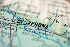 Verona destination. Macro shot of the city of Verona from a map Stock Photography