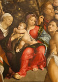 Verona - Detail of Holy Mary with child from paint  - San Zeno church Stock Photos