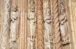 Verona - Detail of prophets statues from main portal of Duomo. On January 27, 2013 in Verona, Italy Royalty Free Stock Image