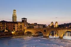 Verona at Dusk. Panorama of Verona across Adige River with Ponte Pietro, Duomo (Dome) and Chiesa di San Giorgio in Braida stock photography