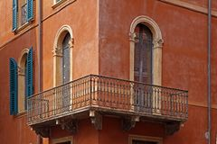 Verona, facade detail with balcony, Veneto, Italy Royalty Free Stock Image