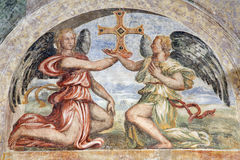 Verona - Fresco of angels with the cross in San Bernardino Royalty Free Stock Photo