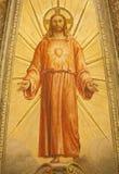 Verona - Fresco av Resurrected Jesus från huvudsaklig apse av kyrkliga Santa Eufemia royaltyfria bilder