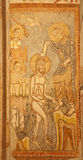 Verona - Fresco of Baptism of Jesus from 12. cent. by unknow author from lower church San Fermo Maggiore stock photography