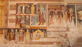 Verona - Fresco from 13. - 14. cent. in basilica San Zeno Stock Photo