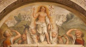 Verona - fresco de Cristo ressuscitado. do centavo 14. -15. em Basílica di San Zeno Foto de Stock