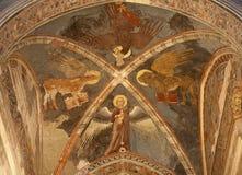 Verona - fresco de cuatro evangelistas en la iglesia San Fermo Maggiore Imágenes de archivo libres de regalías