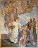 Verona - fresco de cuatro profesores grandes de la iglesia católica del oeste Imagen de archivo libre de regalías