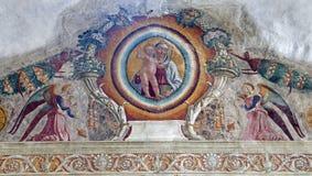 Verona - Fresco från båge av det Medici kapell i den San Bernardino kyrkan royaltyfri foto