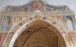 Verona - Fresco från båge av det Medici kapell i den San Bernardino kyrkan royaltyfria bilder