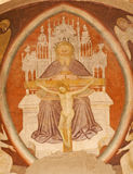 Verona  - Fresco of holy Trinity from main apse of Chiesa di Santissima Trinita Royalty Free Stock Photos