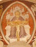 Verona  - Fresco of holy Trinity from main apse of Chiesa di Santissima Trinita Royalty Free Stock Photos