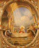 Verona - Fresco of Last supper in the church Santa Eufemia Stock Photography
