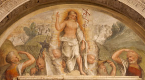Verona - Fresco of resurrected Christ from 14. -15. cent. in Basilica di San Zeno Stock Photo