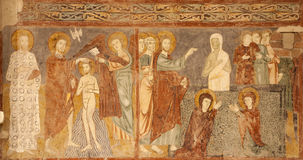 Verona - Fresco of Resurrection of Lazarus and baptism of Christ - San Zeno Stock Image