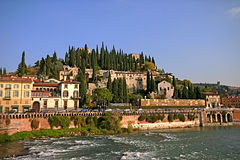 Verona Hilltop. Verona-view of hilltop from the Adige River royalty free stock image