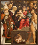 Verona - Holy Mary with child and saints in Basilica di San Zeno Royalty Free Stock Images