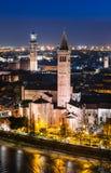 Verona horisont, natt. Italien Royaltyfri Bild