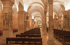 Verona - Interior of romanesque lower church San Fermo Maggiore Royalty Free Stock Photography