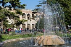 VERONA, ITALIË - MAART 24: Mening van de Fontein voor Royalty-vrije Stock Foto's
