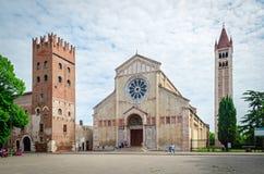 Verona (Italien), Basilika von San Zeno Stockfotografie