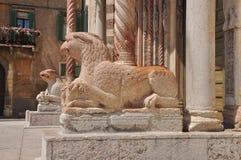 Verona Italien. Duomoingångsdetalj royaltyfri bild