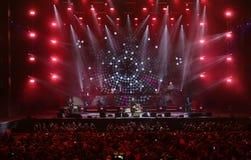 Verona Italien - Oktober 14, 2017: Live Concert av Umberto Tozzi Arkivbild