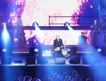 Verona Italien - Oktober 14, 2017: Live Concert av Umberto Tozzi Arkivfoto