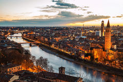 Verona, Italy. Aerial view of famous touristic city at night Royalty Free Stock Images