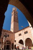 Verona, Italy, Ancient Street, bell tower in the arch. Verona, northern Italy, Ancient Street, bell tower in the arch Stock Images
