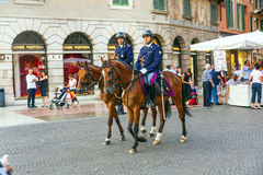 Policenmen with horses in Verona, Italy Stock Photography