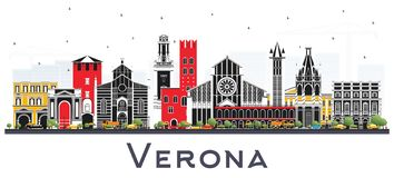 Verona Italy City Skyline con los edificios del color aislados en blanco stock de ilustración