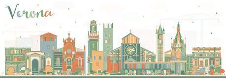 Verona Italy City Skyline med färgbyggnader royaltyfri illustrationer