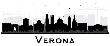 Verona Italy City Skyline Silhouette med svarta byggnader som isoleras på vit royaltyfri illustrationer