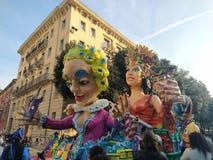 VERONA,ITALY-FEBRUARY 2020: chariots and masks parade during carnival of Verona city