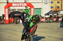 motor bike expo, stunt man show wheelup stock image