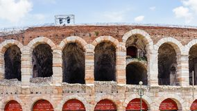 Old Verona, Italy, UNESCO World Heritage. VERONA, ITALY - JUN 26, 2014: Verona Arena (Arena di Verona), a Roman amphitheatre in Piazza Bra in Verona, Italy. It stock photo