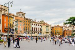 Old Verona, Italy, UNESCO World Heritage. VERONA, ITALY - JUN 26, 2014: Piazza Bra, the largest square in Verona, Italy. City of Verona is a UNESCO World Royalty Free Stock Images