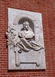 Verona, Italy - 06 May 2018: The memorable bas-relief dedicated to Benedetto Cairoli on the building, located on stock photo