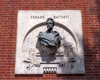 Verona, Italy - 06 May 2018: The memorable bas-relief dedicated to Cesare Battisti on the building, located on stock image