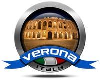 Verona Italy - Metallikone mit Arena stock abbildung