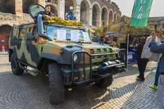 Iveco LMV Light Multirole Vehicle is a 4WD tactical vehicle developed by Iveco at open military exhibition in Verona. Italy. Verona, Italy - October 20, 2018 stock images