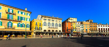 VERONA, ITALY - October, 2014: panorama of a Piazza Bra Royalty Free Stock Photos