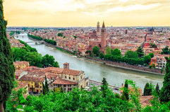 Verona Italy panorama at sunset Royalty Free Stock Photography