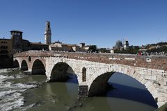 Verona Italy Ponte Pietra royalty free stock photos