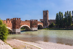Verona, Italy. Scenery With Adige River And Ponte Scaligero And Stock Images