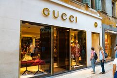 Gucci store. Verona, Italy - September 5, 2018: Gucci boutique. Gucci is an Italian luxury brand of fashion and leather goods, part of the Gucci Group, which is royalty free stock photography